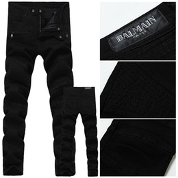 Wholesale 2016 Balmain Men Jeans black skinny jeans men s clothing trend slim small trousers male casual trousers Large size