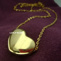 women fashion yellow gold gift for lover stainless steel heart necklace N256