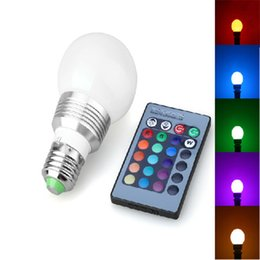Wholesale RGB LED Globe Bulb W AC DC V V V GU10 E27 B22 E14 Colorful Changing LED Light Bulb Lamp IR Remote Control with Wireless