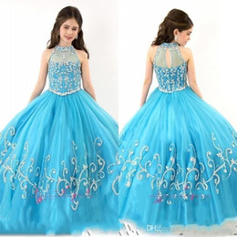 2017 New Sheer High Neck Beaded Crystal Sleeveless Ball Gown Turquoise Tulle Flower Girl Dresses RACHEL ALLAN Girls Pageant Dresses 004
