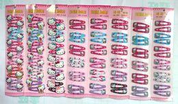 Free Shipping Mixed Color Hello Kitty Children Hair Accessory Haripin Snap Hair Clips Girls 240 pcs