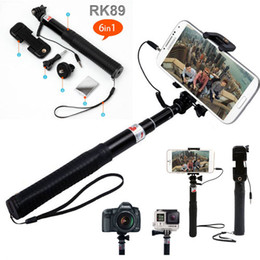 Wholesale 6 in Wired Selfie Stick Monopod Foldable Selfie Stick RK89E Cable Take Pole Selfie kits For iphone Plus Samsung S6 S5 Gopro Hero