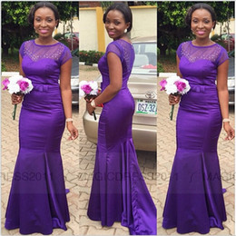2019 Cheap Purple African Mermaid Bridesmaid Dress Sheer Neck Satin Maid of Honor Dresses Long Formal Evening Gowns Party Dress Sweep Train