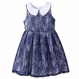 Pettigirl New Arrivals Lace Girls Dresses Navy Kids Floral A-Line Vest Dresses Retail Children Clothes DMGD81207-22L