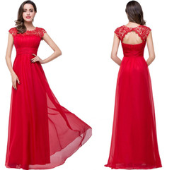 Red Lace Crystal Beads Chiffon Evening Dresses 2016 Sheer Jewel Neck Cap Sleeves Hollow Back Long Prom Dresses Vestidos Bridesmaid Gowns