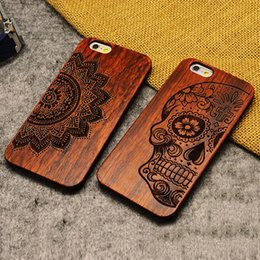 Wholesale iPhone Wooden Case Natural Cover for iPhone Plus s Genuine Walnut Bamboo Carving Patterns Wood Slice Durable Plastic Shell DHL EMS
