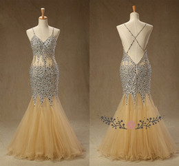 Sparkly Champagne Mermaid Cheap Prom Dresses with Bling Crystals Beaded Backless Long Tulle See Through Waist Sequin Beaded Evening Formal