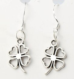 Wholesale 11 x34mm Antique Silver Open Heart Clover Charm Pendant Earrings Silver Fish Ear Hook Chandelier E368