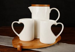 Wholesale Ceramic white kettle cups cold water bottles with bamboo creative suite sets of care