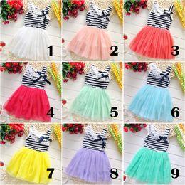 children clothing girl lace striped tutu dress sleeveless striped dress princess tutu dress Tulle tutu party dress free shipping in stock