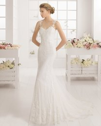 Wholesale 2015 Lace Sheath Wedding Dresses Plus Size Spaghetti Sweetheart Bridal Dress Aire MALLORCA Cheap Wedding Gown Tulle Backlesses Hot Sale