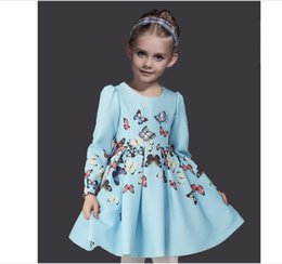 High Quality Big Girls Dress 2018 New Kids Long Sleeve 3D Butterfly Decoration Dresses Children Spring Princess Dress With HairBand