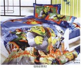 Wholesale Shrek kids toddler children bedding set twin full queen size cartoon quilt duvet cover bedspread bed sheets bedroom linen cotton