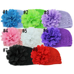 """New Stock 5"""" Tulle Lace Layered Flowers with Crochet Cotton Hats Baby Summer Beanie Free Shipping 10pcs lot"""
