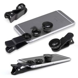 Wholesale 3 in Fish Eye Lens Wide Angle Micro Lens BLACK Camera kit for Iphone s Samsung