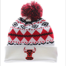 Wholesale Cheap Christmas Hats Wholesale - Cheap Wholesales New Design Knit Skull Sports Basketball Cap Out Door Warm Winter Hats Women and Mens Bulls Beanies With Pom,Free Sh