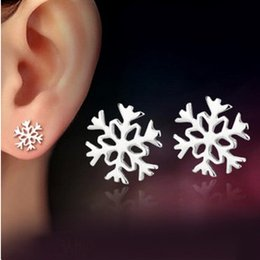 ORSA Free Shipping Silver Stud Earrings 2017 High Quality Platinum Plated Snowflake Earrings Woman Jewelry PE48