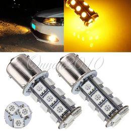 Free Shipping 2pcs lot Amber Yellow 1156 BA15S 18 SMD 5050 LED Light Bulb Car Auto RV Trailer Turn Tail Lamp for DC 12V
