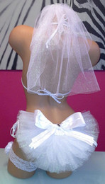 Wholesale Cheap Booty Veils with Bow Party Swim Suit Wedding Bikini Veil Bling Wedding Veil Bridal Set Beach Bridal Accessories Sexy Bridal Veil
