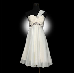 Wholesale Attractive Cheap Under Ruched A Line One Shoulder Strapless Knee Length Bridesmaid Dress Custom Made