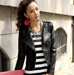 new arrival women Leather jacket 2015 autumn slim leather coat PU motorcycle jacket ladies black Brown leather jacket coat 528