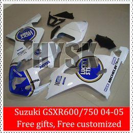 04 GSXR 750 05 GSXR 600 K4 Snow White Fairing Kits For Suzuki GSXR600 GSXR750 2004 2005 Gold White Blue Stripe Racing Body Cover GSX R600 R7