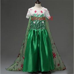 Promotion anna manteau gelé 50 BBA5175 enfants Frozen Fever Dress avec Elsa Anna robe Fils dentelle vert fleurs Robes de danse de princesse robe de soirée congelé Cape fille