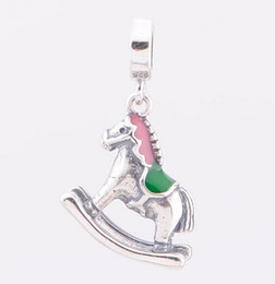 Rocking Horse Silver Dangle DIY Beads Real Solid 925 Sterling Silver Not Plated Fits Original Pandora Bracelets & Bangles & Necklaces