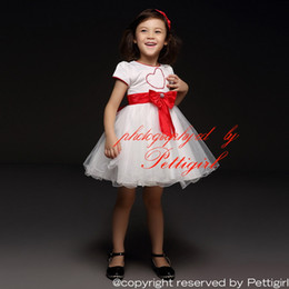 Pettigirl 2016 Girls Newest Designer Party Dresses White With Red Heart And Bows And Tulle Kids Princess Dresses Kids Clothes GD40418-2
