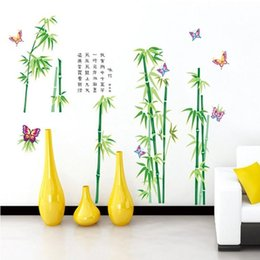 Wholesale bedroom decoration The new three generations of removable wall stickers living room bedroom sofa TV backdrop green bamboo wallpaper MJ9003