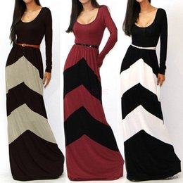 Wholesale New Spring Girl Women Printing Striped Casual Dress Long Sleeve Womens Dress Vestidos Para Festa Floor Length Long Maxi Dresses SV001602