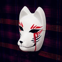 Full Face Hand-Painted Japanese Fox Mask Kitsune Blood Tears Pattern Cosplay Masquerade for Party Carnival Halloween
