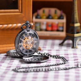 Wholesale 2015 Popular Unisex Antique Case Pocket Watch Vine Mechanical Hand Wind Pocket Watch Double Open Unique Relogio