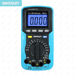 Wholesale all sun EM5511 EMF digital multimeter in EMF multimeter backlight LCD display tester Multi function multimeters EMF tester