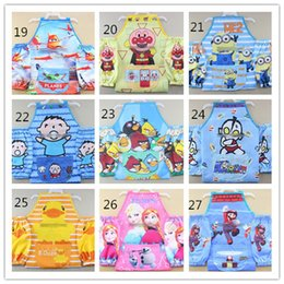 Wholesale 66 Designs High Quality Children Frozen Minnions Super Mario Mcqueen Spider man pu Waterproof Drawing Apron with Sleeve EMS D3325