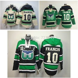 Wholesale Factory Outlet Cheap Hartford Whalers hooded Jersey Ron Francis Old Time Hockey Hoodies Sweatshirts Size M XL