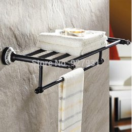 Wholesale Wall Mounted Oil Rubbed Bronze Ceramic Style Double Bath Towel Holder Top quality Bathroom Towel Shelf rack