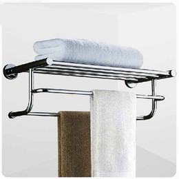 Wholesale New Wall Mounted Stainless Steel Bathroom Towel Shelf Towel Rack Dual Towel Bars