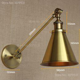 Retro Bronze Single Swing Arm Wall Lamp For Bedroom Bedside Adjustable Wall Mount Swing Arm Lamp