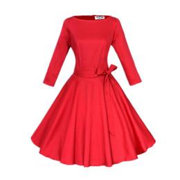 Wholesale-Women Pinup Vintage Retro Rockabilly Club Dress Plus Size Party Dresses Long Three Quarter Sleeve Black Ball Gown Dress