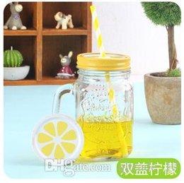 Wholesale 100pcs LJJC2029 Hot New Arrival Cool Gradiet Lemon Juice Bottle Summer Style Vintage Jar with straw Colorful Cold Drink Glass Bottle