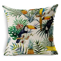 Wholesale Hand Painted Tropical Plants Flower Pineapple Cushion Cover Bird Parrot Flamingo Toucan Pillow Case Linen Cotton Cushions Pillows Covers
