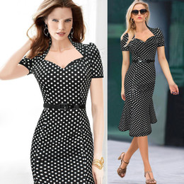 Casual Dresses Women's Polka Dot Belt Slim V neck Bodycon Work Party Cocktail Evening Pencil Mermaid Dress