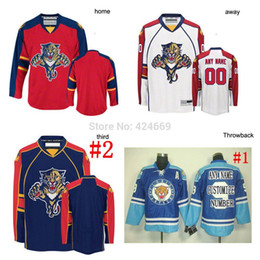 Factory Outlet, custom Any Name NO. size Florida Panthers jersey red Home white Away blue road (Goalie Cut Jersey need 78$) Embroidery Logo
