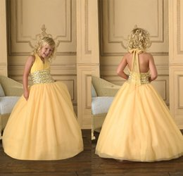 Big Discount Ball Gown Halter Long Yellow Organza Girl's Pageant Dresses Beaded Sequins High Quality Cupcake Flower Girls Dresses