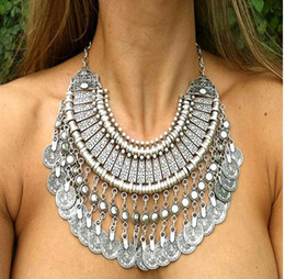 Wholesale Vintage turkish necklaces jewelry Brand bohemian Silver gold Round Zamac Coin Tassels Choker Collar Shourouk statement necklace for women