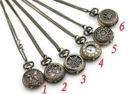 Wholesale of mix style Antique Pocket watch with chain Necklace Classic Pocket Watches