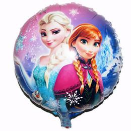 Wholesale Frozen x45cm balloon for birthday party Princess Anna Elsa inch round Aluminum foil cartoon helium balloons