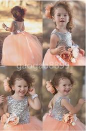 Melocotón rosado brillante de lentejuelas de la princesa vestidos de desfile para los vestidos de su niña flor hecha a mano del vestido de bola las muchachas de flor little girls sequin pageant dresses on sale desde niñas de lentejuelas vestidos del desfile proveedores