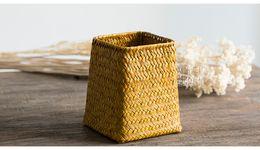 Wholesale P Classical Tibetan Antique Handmade Straw Brush Pot Pencil Vase Straw Plait Braid Pen Holder